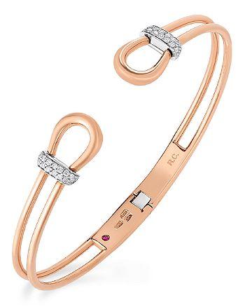 Roberto Coin - 18K Rose Gold Diamond Cheval Cuff Bangle Bracelet