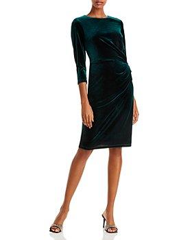Eliza J - Gathered Velvet Sheath Dress