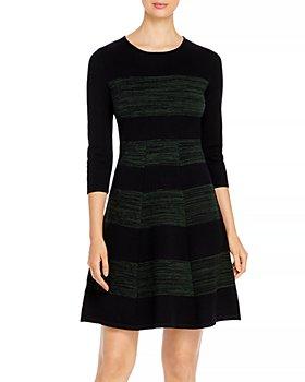 T Tahari - Striped Fit-and-Flare Dress