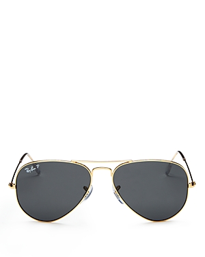 Ray-Ban Unisex Polarized Brow Bar Aviator Sunglasses, 55mm