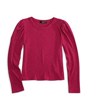 AQUA - Girls' Puff Sleeve Rib Knit Top - Big Kid