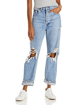 AGOLDE - Cotton Ripped Wide Leg Jeans in Fallout