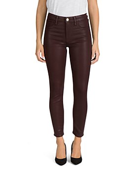 7 For All Mankind - Coated Skinny Ankle Jeans in Amber