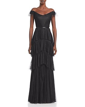 MARCHESA NOTTE - Lace Tiered Off-the-Shoulder Gown