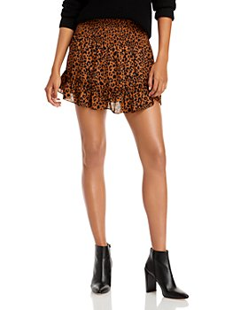 AQUA - Leopard Print Smocked Mini Skirt - 100% Exclusive