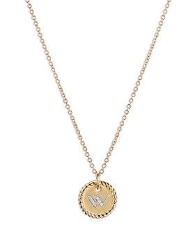"""David Yurman - W Initial Charm Necklace with Diamonds in 18K Gold, 16-18"""""""