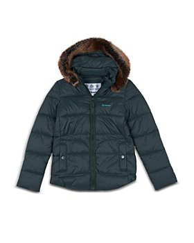 Barbour - Girls' Quilted Faux Fur Trim Hooded Coat - Big Kid
