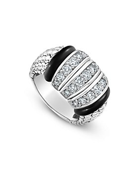 LAGOS - Sterling Silver Black Caviar Diamond & Black Ceramic Statement Ring