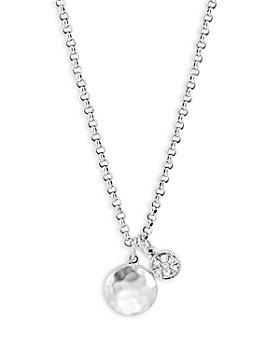 "JOHN HARDY - Sterling Silver Dot Diamond Cluster & Hammered Disc Pendant Necklace, 16-18"""