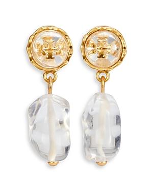 Tory Burch Roxanne Stone & Logo Drop Earrings