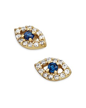 BAUBLEBAR - Ivy Cubic Zirconia Evil Eye Stud Earrings in 18K Gold Plated Sterling Silver