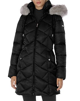 Laundry by Shelli Segal - Hooded Faux Fur Trim Puffer Coat