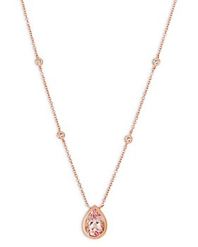 """Bloomingdale's - Morganite and Diamond Pear-Shaped Pendant Necklace in 14K Rose Gold, 16"""" - 100% Exclusive"""