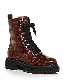 KURT GEIGER LONDON - Women's Siva Croc Embossed Combat Boots