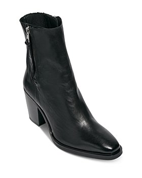 ALLSAINTS - Women's Cohen Square Toe Double Zipper High Heel Leather Booties