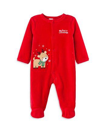 Little Me - Boys' Reindeer Velour Footie - Baby