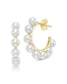 Bloomingdale's - Cultured Freshwater Pearl Hoop Earrings in 14K Yellow Gold - 100% Exclusive