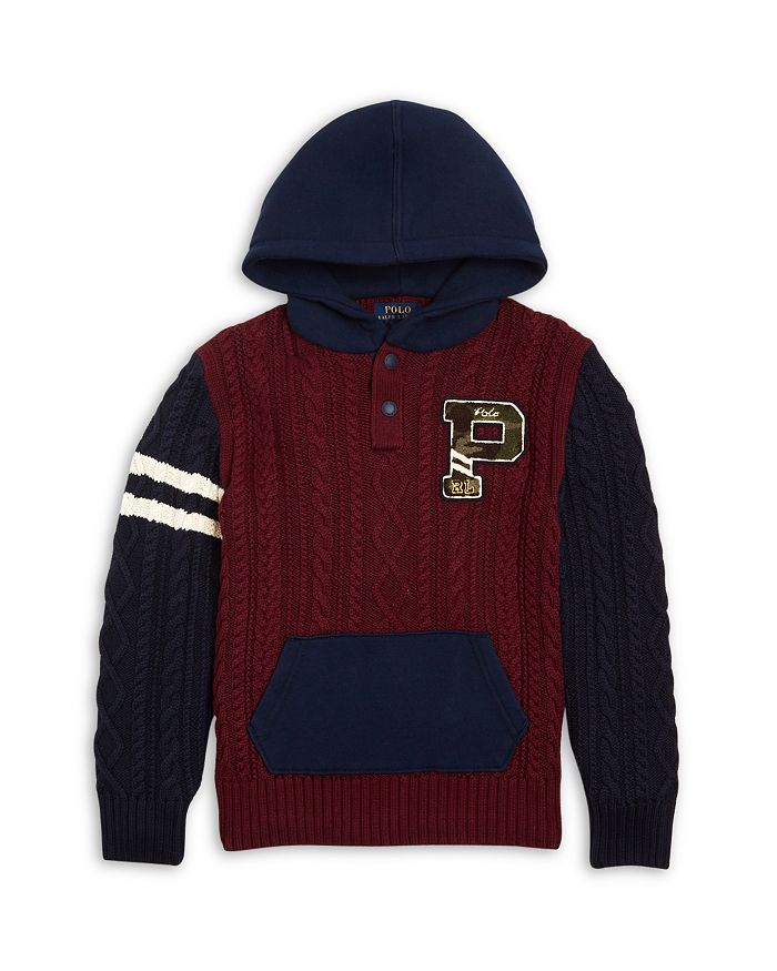 Ralph Lauren - Boys' Cable Knit Hoodie Sweater - Little Kid, Big Kid