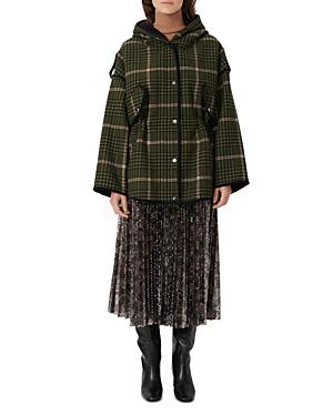 Maje Gangzam Plaid Hooded Coat-Women