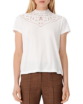 Maje - Talent Embroidered Lace Yoke Tee