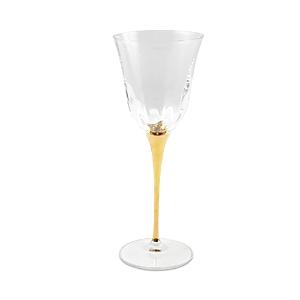 Vietri Optical Gold Stem Wine Glass-Home