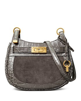 Tory Burch - Lee Radziwill Small Embossed Leather & Suede Saddle Bag