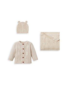 Elegant Baby - Unisex Leaf Knit Hat, Blanket & Cardigan Set - Baby