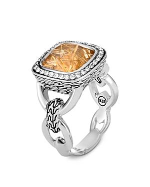 John Hardy Sterling Silver Classic Rutilated Quartz & Diamond Square Statement Ring-Jewelry & Accessories