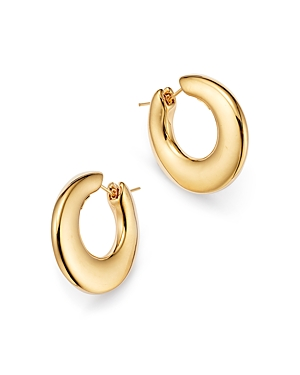 14K Yellow Gold Graduated Hoop Earrings
