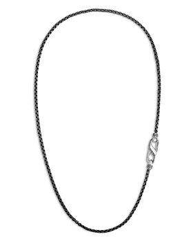JOHN HARDY - Men's Silver & Black Rhodium Classic Box Link Chain Necklace