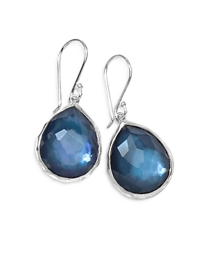 Ippolita STERLING SILVER WONDERLAND MOTHER-OF-PEARL & CLEAR QUARTZ DOUBLET MINI TEARDROP EARRINGS IN CELESTE