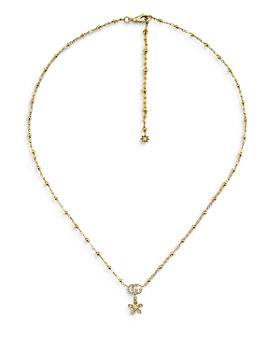 Gucci - 18K Yellow Gold Flora Diamond Double G & Flower Pendant Necklace, 15""