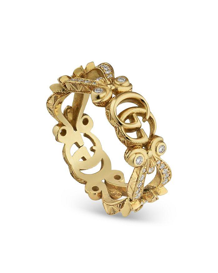 Gucci - 18K Yellow Gold Flora Diamond Ring