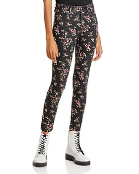 AQUA - Black Floral Print Pants - 100% Exclusive