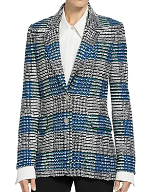 St. John RIBBON PLAID KNIT SINGLE BREASTED JACKET