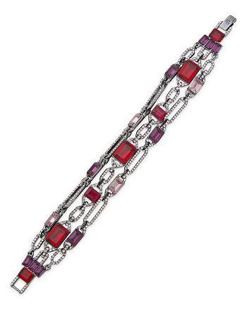 Ralph Lauren - Pavé & Multicolor Stone Triple Row Flex Bracelet in Hematite Tone