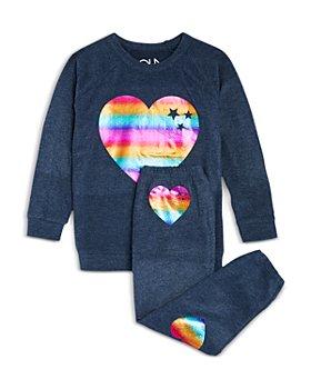 CHASER - Girls' Rainbow Hearts Sweatshirt & Jogger Pants - Little Kid, Big Kid