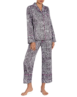 In Bloom by Jonquil Leopard Print Satin Cropped Pajama Pants Set-Women