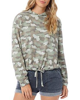 ALTERNATIVE - Printed Drawstring Hooded Sweatshirt