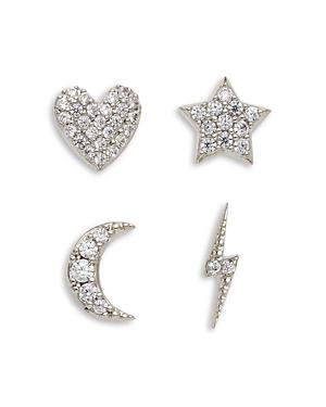 Nadri Adore Cubic Zirconia Heart, Star, Moon & Lightning Bolt Stud Earrings, Set of 4-Jewelry & Accessories