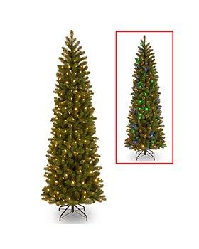 National Tree Company - 6.5 ft. Douglas Fir Pencil Slim Tree with 300 Dual Color Lights