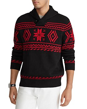 Polo Ralph Lauren - Cotton Snowflake Regular Fit Shawl Collar Sweater