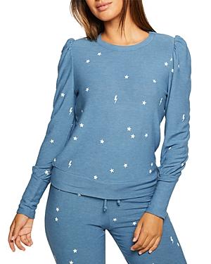 Printed Puff Sleeve Sweatshirt