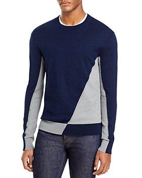 KARL LAGERFELD PARIS - Asymmetric Color Block Wool-Cotton Sweater