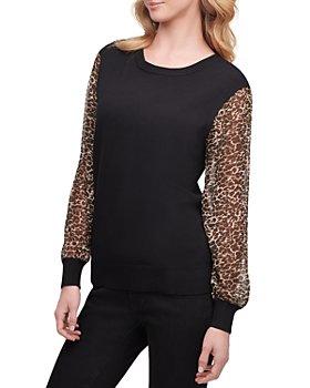 DKNY - Leopard Sleeve Sweater