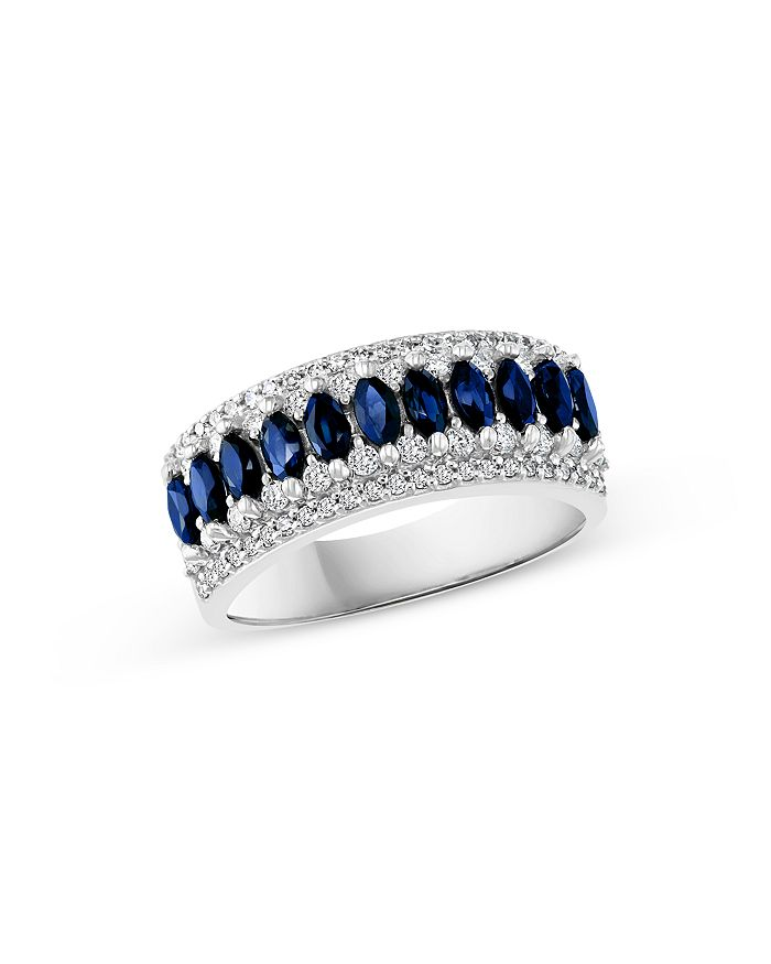 Bloomingdale's - Blue Sapphire & Diamond Anniversary Band in 14K White Gold - 100% Exclusive