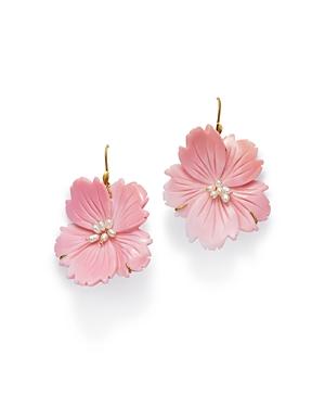 18K Yellow Gold Pink Conch Wild Rose Drop Earrings
