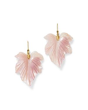 18K Yellow Gold Mother of Pearl Fancy Leaf Drop Earrings