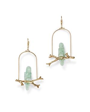14K Yellow Gold Amazonite Parrot Drop Earrings