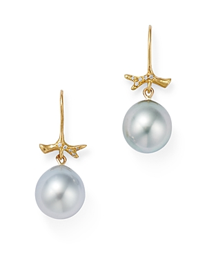 18K Yellow Gold Little Grey Pearl Diamond Pave Branch Earrings